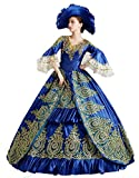 Zukzi Women's Prom Gothic Victorian Fancy Palace Masquerade Dresses, Blue Hat Hat US 18