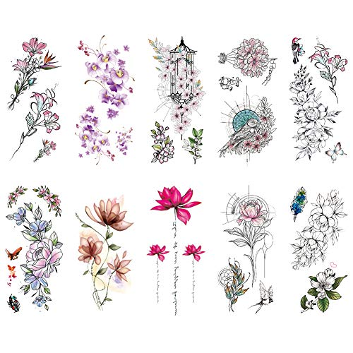 TAFLY Flower Temporary Tattoos for Women Big Tattoo Sticker Body Art Waterproof Arm Fake Large Tatoo Paper 10 Sheets -