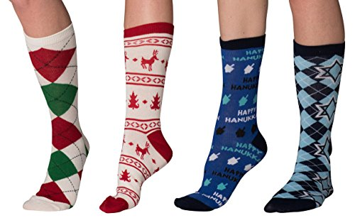 Mens & Womens Fun Novelty Holiday Halloween Xmas Socks- One Size Fits Most (One Size Fits Most (Shoe-4-10), Christmas-Hanukkah 4 PK Crews -Star of David/Red Festive/Dreidel/Argyle)