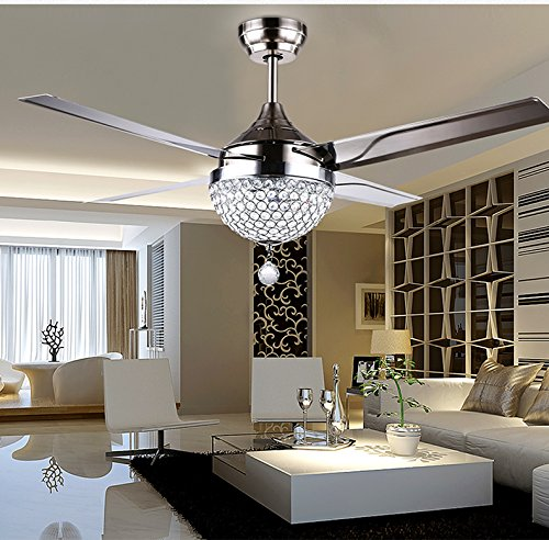 Andersonlight Stainless Steel Ceiling Fan Downrod Remote Control 4 Metal Blades Dimmable Crystal LED Light Kit Mute Variable Speed Motor Saving Health Home Decoration 44 Inch Silver by Andersonlight (Image #3)