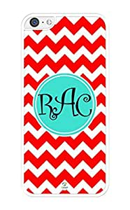 iZERCASE Monogram Personalized Red and White Chevron Pattern iPhone 5C Case - Fits iPhone 5C T-Mobile, AT&T, Sprint, Verizon and International (White)