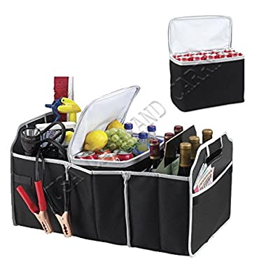 Collapsible Trunk Organizer and Cooler 2 in 1 Set - The three-section car-trunk organizer storage can collapse flat to save space, and has a removable cooler with enough space for up to 20 cans For Car SUV Truck Automotive!!! By USA CASH AND CARRY - PrimeTrendz TM
