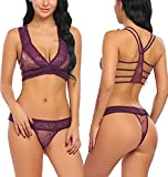 Avidlove Women Lace Lingerie Babydoll 2 Piece Sexy Bra and Panty Set Purple S
