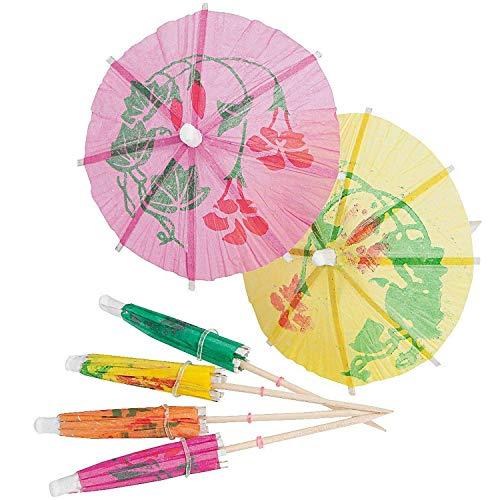 Kicko Cocktail Umbrellas on Wooden Stick - 144 Pieces - Umbrella 2 Inches, Stick 4 Inches - Assorted Colors and Designs Drink Umbrellas Parasols - Caribbean, Hawaiian, Luau, Tropical, Bar, Parties -