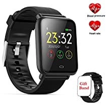 Fitness Tracker Watch,Activity Tracker Smartwatch with Heart Rate Blood Pressure Monitor,1.3 Inch TFT Color Screen Fitness Watch withMessage Reminder Sleep Monitor Step Calorie Counter Smart Band, Pedometer Watch, IP67 Waterproof Smart Bracelet for Android and IOS