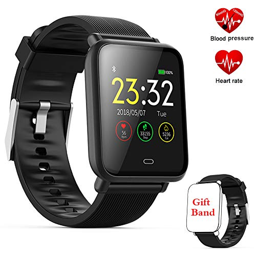 Fitness Tracker Smart Watch, Activity Tracker with Heart Rate Monitor,Color Screen Fitness Watch with Sleep Monitor Blood Pressure Monitor Step Counter, Pedometer Watch,IP67 Waterproof (Q9-Black)