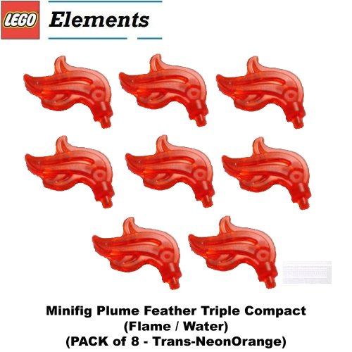 Lego-Parts-Minifig-Plume-Feather-Triple-Compact-Flame-Water-Trans-NeonOrange