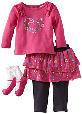 Babyworks Baby-Girls Newborn 3 Piece Ruffle Heart Skirt Legging Set, Pink, 3-6 Months