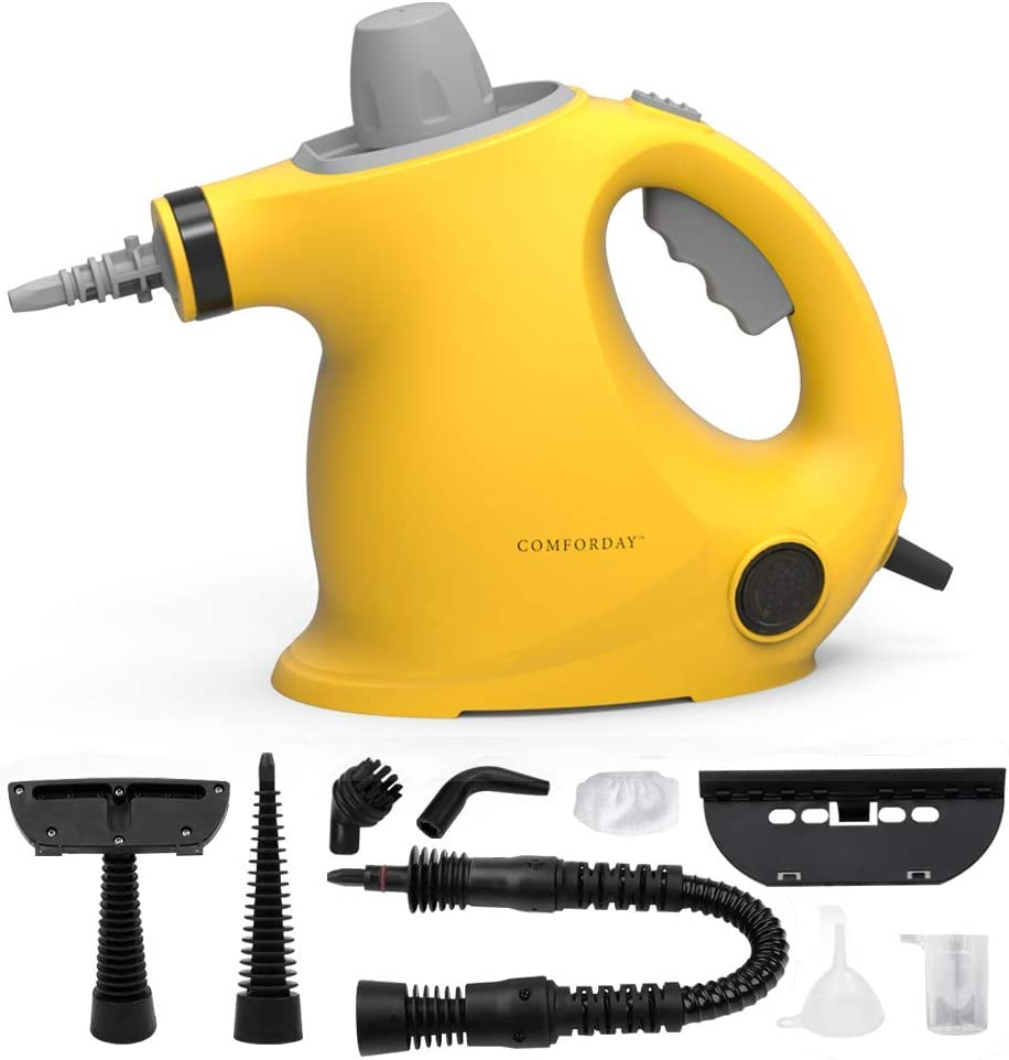 Comforday Multi-Purpose Handheld Pressurized Steamers Cleaners with 9-Piece Accessories for Multi-Surface Stain Removal, Carpets, Curtains, Counters, Car Seats, Floor, Yellow (UK Plug)