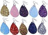 10 Pairs Petal Teardrop faux Leather Earrings - Lightweight Leaf Drop Earrings Gift Fit Woman Girls