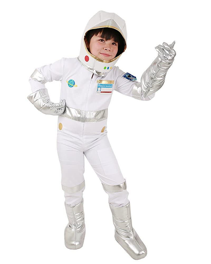 ba608d84f02 Amazon.com  Miccostumes Kids Astronaut White Halloween Helmet Jumpsuit  Costume with Gloves Shoes Cover (One size)  Toys   Games