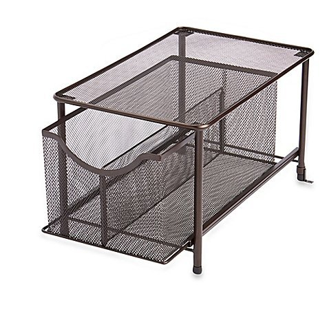 .ORG Large Under the Sink Mesh Slide-Out Cabinet Drawer with Shelf in Bronze by ORG