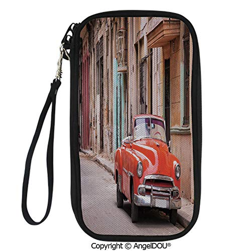 PUTIEN Portable diagonal dual-use samll Purse Classical American Car in a Street with Ancient Houses Caribbeans Havana Cuba for Shopping travel picnic business.