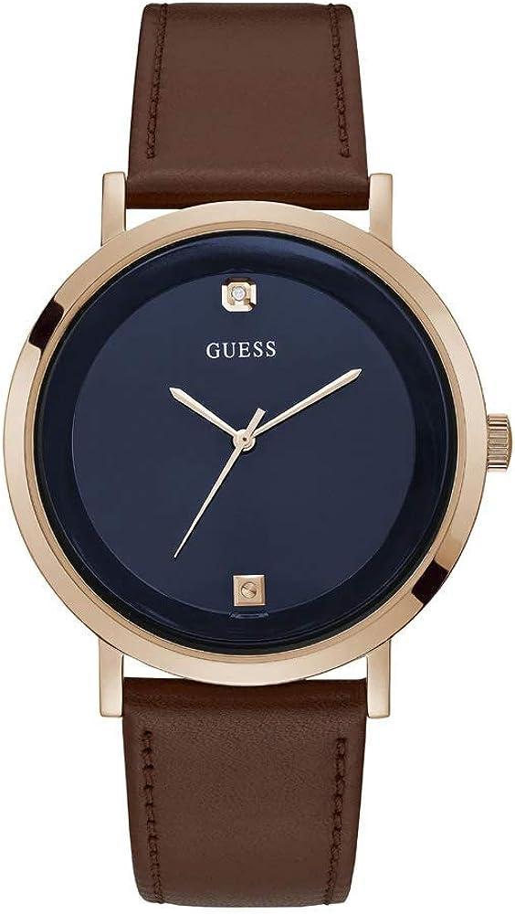 GUESS GW0009G2 - Reloj analógico de acero inoxidable para hombre con correa de piel de becerro, marrón, 22