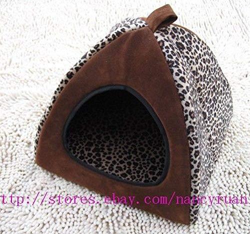 FidgetGear Lepoard Pet Dog Cat Tent House Bed 3types S,M.L L Brown+Leopard