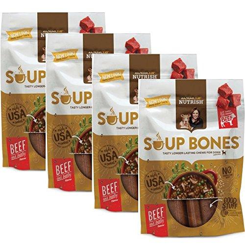 Rachael Ray Nutrish Soup Bones Dog Treats, Beef & Barley Flavor, 6.3oz, Pack of 4