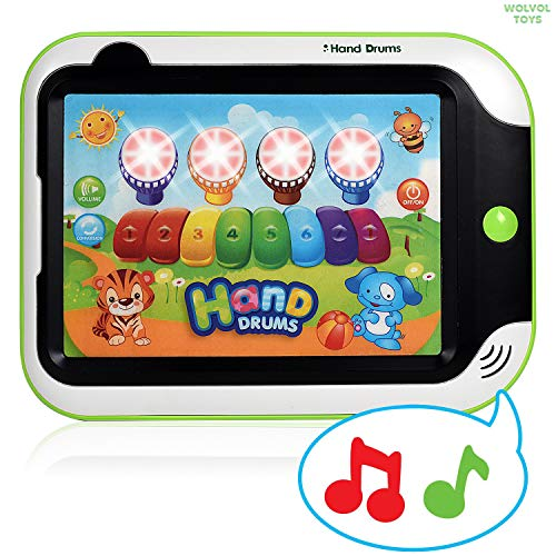 WolVol Kids Drum and Piano Musical Tablet - Durable Plastic with Easy Touch Button - Multi-Function Tablet Computer Toy for Kids