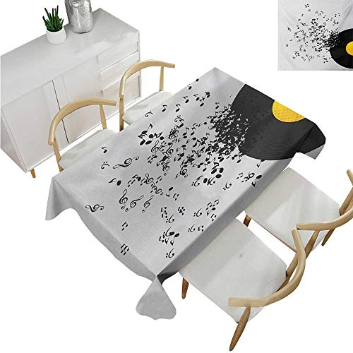 familytaste Music,Table Covers,Abstract Design Flying Music Notes Disc Album Dancing Nightclub Print,Rectangular Polyester Tablecloth 52