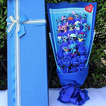 Soup Flower Stitch Plush Toys Anime Lilo and Stitch Model Stitch PVC Animal Dolls Kawaii Stich Bouquet Romantic Gift No Box (1)