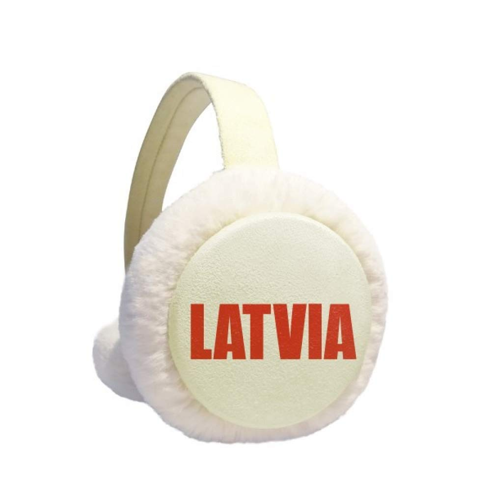 Latvia Country Name Red Earmuff Ear Warmer Faux Fur Foldable Outdoor