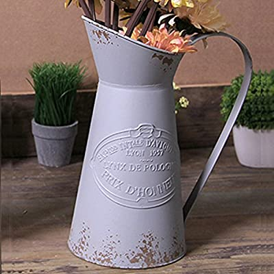 VANCORE Shabby Chic Large Metal Jug Flower Pitcher Vase - 🌷Material: Metal iron. 🌷Dimensions: Height: 28cm, Diameter of base: 14cm 🌷Bring the trendy French country flair vase to decorate your home or balcony or garden, you will find that it bring your home more special, Elegant ,chic and Vintage. - vases, kitchen-dining-room-decor, kitchen-dining-room - 510uFbKUwQL. SS400  -