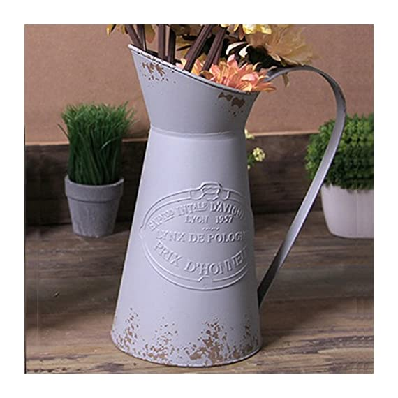 VANCORE Shabby Chic Large Metal Jug Flower Pitcher Vase - 🌷Material: Metal iron. 🌷Dimensions: Height: 28cm, Diameter of base: 14cm 🌷Bring the trendy French country flair vase to decorate your home or balcony or garden, you will find that it bring your home more special, Elegant ,chic and Vintage. - vases, kitchen-dining-room-decor, kitchen-dining-room - 510uFbKUwQL. SS570  -