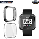 [2-Pack] Compatible with Fitbit Versa Screen Protector, Auibest Full Cover Case Scratch-Resistant Soft Flexible TPU Plated All-Around Protective case Protector (Black+Clear)