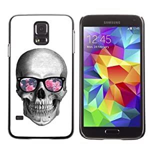 Licase Hard Protective Case Skin Cover for Samsung Galaxy S5 - Hipster Glasses Cool Skull
