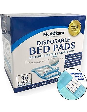 Almohadillas de cama desechables para incontinencia Medokare, colchonetas absorbencia grado hospitalario de 1500ml, protección