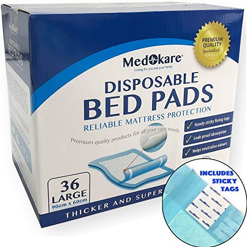Medokare Disposable Incontinence Bed Pads - Hospital Grade 1500ml Super Absorbent Disposable Bed Mats with Adhesive, Waterproof Mattress Pads Protector, Bedwetting Pads for Kids (36Pads w/Tags)