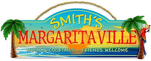 - Redeye Laserworks Personalized Margaritaville with 3-D Palm Trees Hardboard Sign from