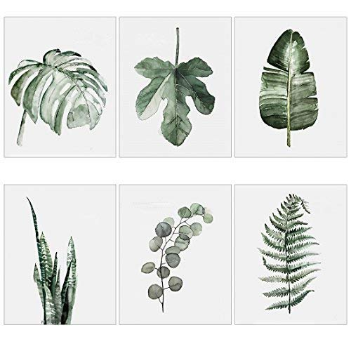 Meishe Art Modern Poster Print Tropical Leaf Watercolor Painting Botanical Plant Green Leaves Monstera Fern Popular Home Wall Decor 6pcs