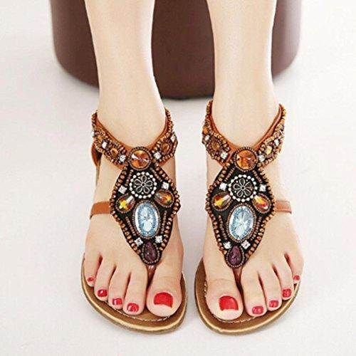 Ouneed® Frauen böhmische Art Reißverschluss Ebene Schuhe Kederleiste beiläufige geöffnete Zehe Sandalen Damen Erwachsene Zehentrenner (40, Braun)