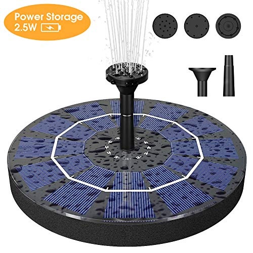 - Biling Solar Bird Bath Fountain Pump, 2.5W Solar Fountain Pump with 800 mAh Battery Backup, Free Standing Solar Powered Water Fountain Pump for Bird Bath Garden Pond Pool Outdoor