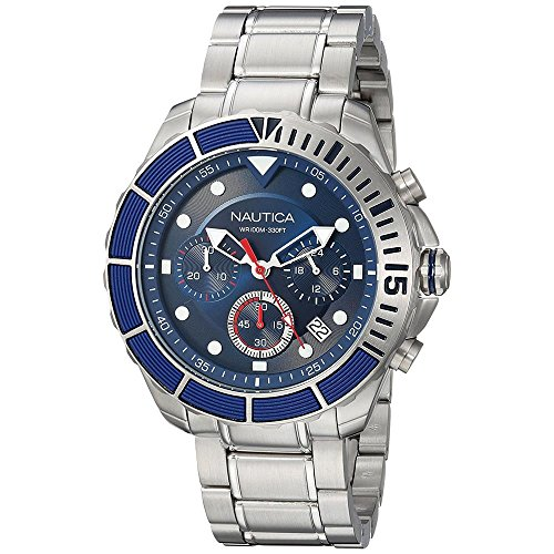 Nautica Men's 'PUERTO RICO' Quartz Stainless Steel Sport Watch, Color:Blue (Model: NAPPTR004)