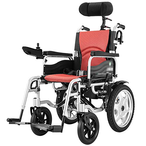 Heavy Duty Electric Wheelchair with Headrest,Folding and Lightweight Portable Powerchair with Seat Belt,Electric Power Or Manual Manipulation,Adjustable Backrest and Pedal Motorized Wheelchairs