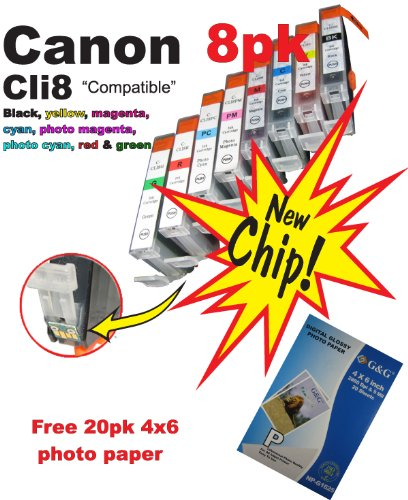 8pk new non OEM Canon CLI 8 B,y,c,m,pc,pm,r,g Ink Cartridge WITH CHIP! For Pixma PIXMA Pro9000 and Pro9000 Mark II. Plus FREE 20pk 4×6 photo paper., Office Central