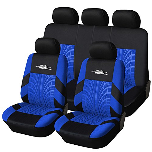 Blue Seat - AUTOYOUTH Car Seat Covers Universal Fit Full Set Car Seat Protectors Tire Tracks Car Seat Accessories - 9PCS, Black/Blue