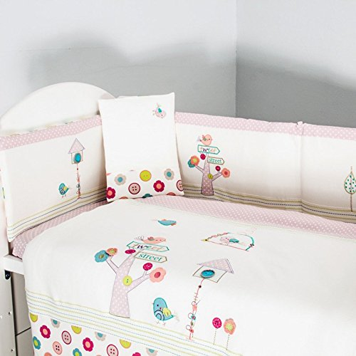 AUSTTBABY Girl Baby Bedding Set Cotton 3D Embroidery Bird Tree Flowers Quilt Pillow Bumper Bed Cover 5 Pieces Set White Pink …