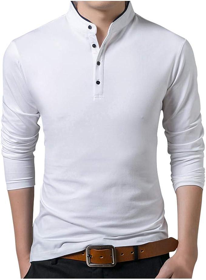 Rameng Camisa Polo De Manga Larga para Hombre Tops Basic Slim Fit Moda De Otoño Algodón Color Sólido Cuello Alto Elegante Camiseta Ajustada Básica Camisa Polo Tops: Amazon.es: Ropa y accesorios