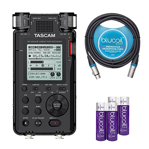 (TASCAM DR-100mkIII Portable Recorder with Linear PCM Compatibility -INCLUDES- Blucoil Audio 10' Balanced XLR Cable AND 2-Pack of AA)