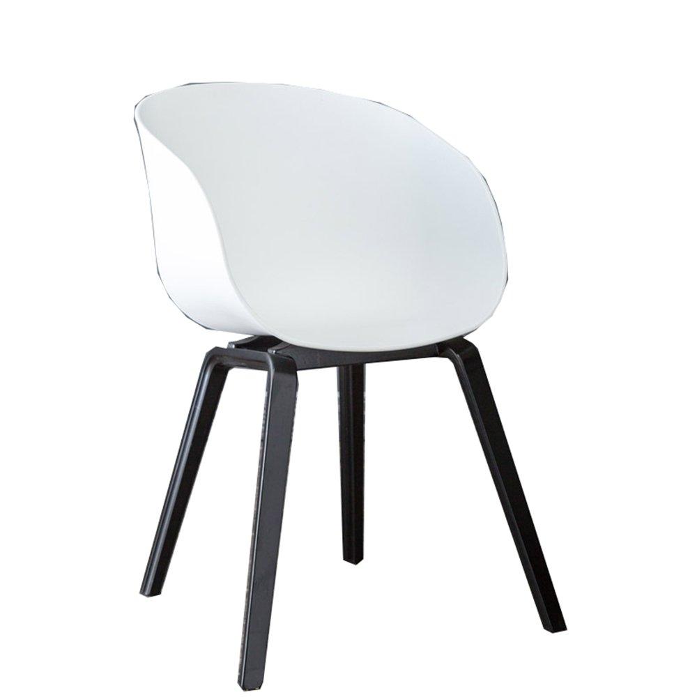 カジュアルな創造的な家のスツール、現代的な単純な北欧の椅子、木製の後ろのヨーロッパのコーヒーチェア ( 色 : 白 ) B07BGYT8HC 白 白