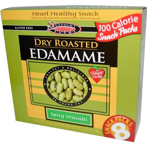 Seapoint Farms Dry Roasted Edamame Spicy Wasabi 8 Snack Packs (4 Boxes) by Seapoint Farms