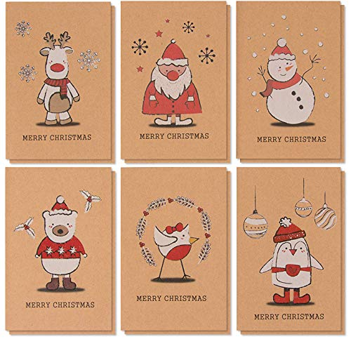 36-Pack Merry Christmas Holiday Greeting Cards Bulk Box Set - Winter Holiday Xmas Kraft Greeting Cards with Yuletide Character Illustrations, Envelopes Included, 4 x 6 Inches -