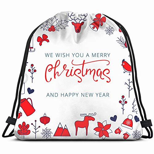 vintage christmas card elk sledge gifts holidays backdrop Drawstring Backpack Gym Sack Lightweight Bag Water Resistant Gym Backpack for Women&Men for Sports,Travelling,Hiking,Camping,Shopping - Danish Candles Drop