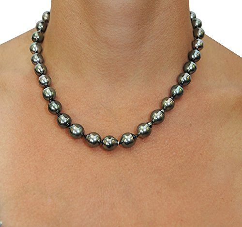 Clearance spéciale: 9-11mm Platinum Baroque Collier de perles de culture de Tahiti-de qualité AAA, longueur Princesse 45,7cm Or 14K Fermoir