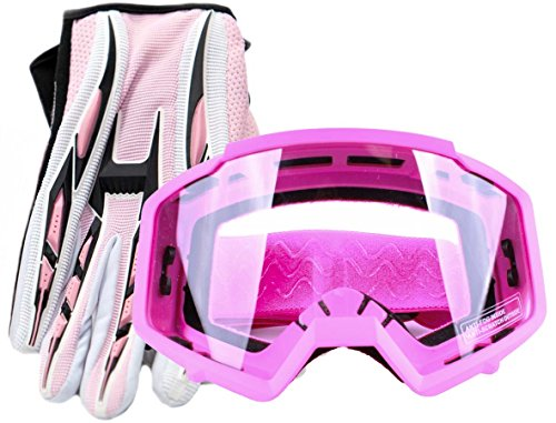 Typhoon Women's Glove & Goggle Combo Motocross Offroad ATV MX Dirt Bike - Pink - ()