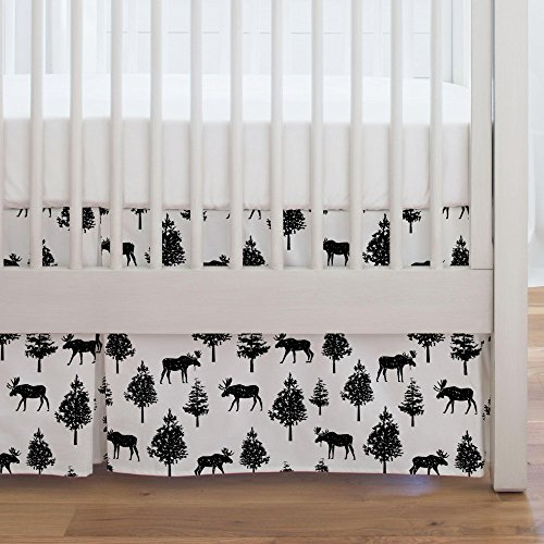 Moose Black Onyx - Carousel Designs Onyx Moose Crib Skirt Single-Pleat 17-Inch Length - Organic 100% Cotton Crib Skirt - Made in the USA