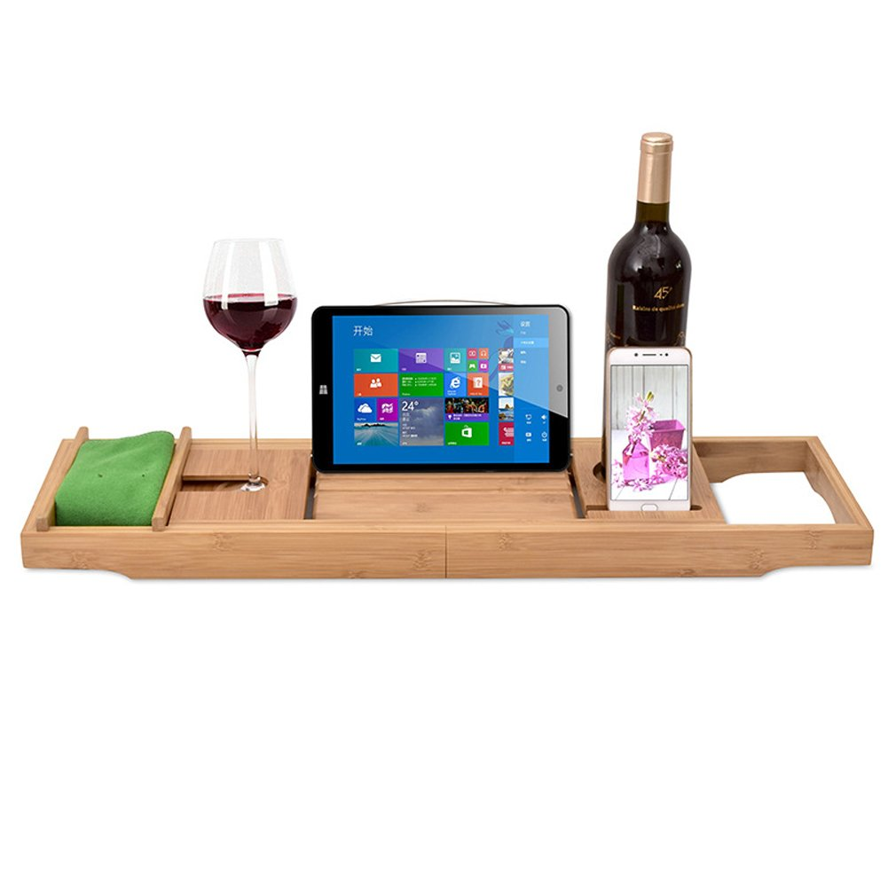 Luxury Wood Bamboo Bathtub Tray Bath Tub Caddy Tray Extending Sides Built in Wineglass Aromatherapy Candles Phone Holder Reading Rack Cellphone Tray Fit Most Tub MJ0001 by TUYU (Image #2)