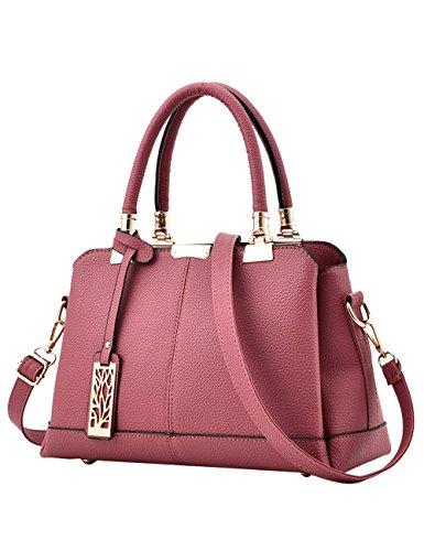Mujer Moda Vintage Estilo Cuero de Pu Bolsos Totalizador Práctico de Mano Bolso Handbags con Correa Rosa
